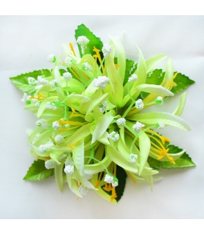 Silk Flower Hair Clip [ Spider Lily with Blossom ] Green