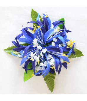 Silk Flower Hair Clip [ Spider Lily with Blossom ] Navy Blue
