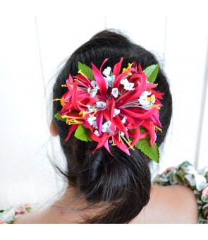 Silk Flower Hair Clip [ Spider Lily with Blossom ] Red