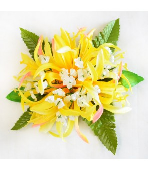 Silk Flower Hair Clip [ Spider Lily with Blossom ] Yellow