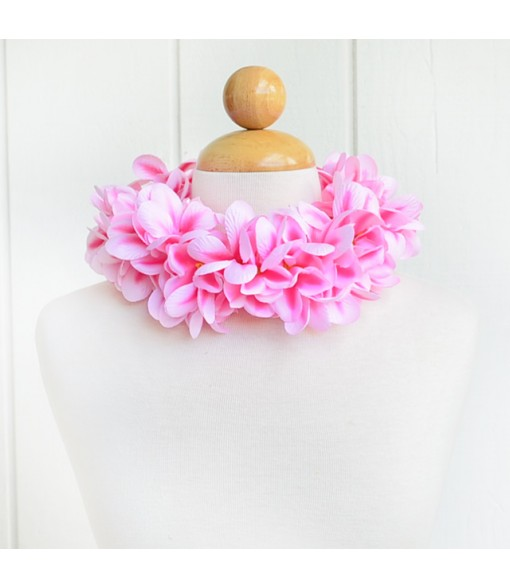 Silk Flower Headband [ Aloha Plumeria / Double ] Pink