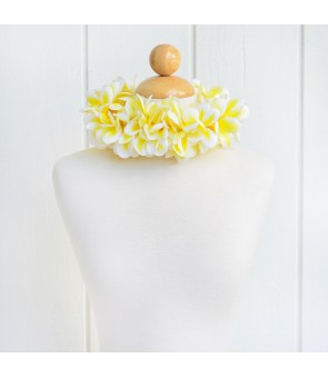 Silk Flower Headband [ Aloha Plumeria / Double ] Yellow