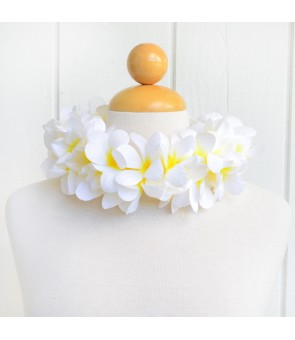 Silk Flower Headband [ New Plumeria Double ] White Yellow