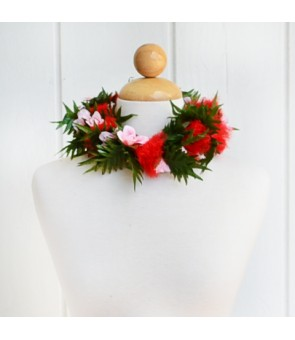 Silk Flower Headband [ Ohi'a Lehua with Rose ] Red & Pink