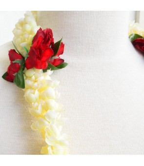 Silk Flower Lei [ Double Pikake / Rose Bud ] Red & Off-White