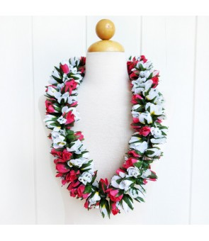 Silk Flower Lei [ Double Rose Bud ] Pink & White