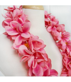 Silk Flower Lei [ Aloha Plumeria / Double ] Peach