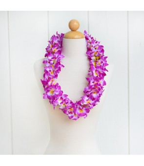 Silk Flower Lei [ NEW Orchid / Double ] Lavender