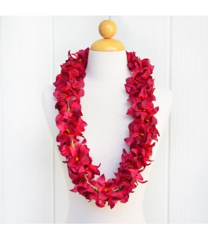 Silk Flower Lei [ NEW Orchid / Double ] Maroon