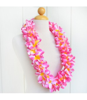Silk Flower Lei [ New Plumeria Double ] Cherry Pink Yellow