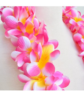 Silk Flower Headband [ New Plumeria Double ] Cherry Pink Yellow