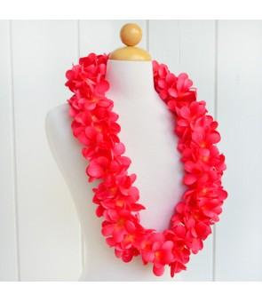 Silk Flower Lei [ New Plumeria Double ] Carmine Red