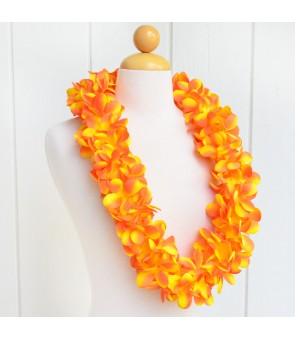 Silk Flower Lei [ New Plumeria Double ] Golden Orange
