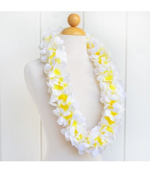 Silk Flower Lei [ New Plumeria Double ] White Yellow
