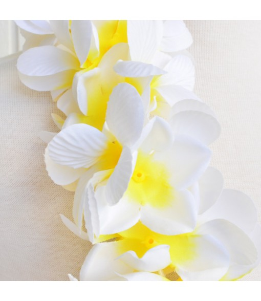 Silk Flower Bracelet [ New Plumeria Double ] White Yellow