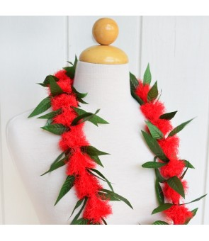 Silk Flower Lei [ Ohi'a Lehua with Maile Lei Leaf ] Red