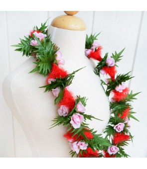 Silk Flower Lei [ Ohi'a Lehua with Rose ] Red & Pink