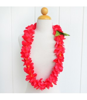 Silk Flower Lei [ Plumeria Royal Single ] Carmine Red