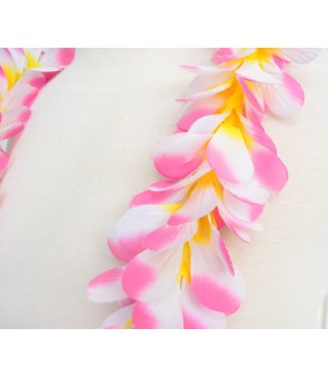 Silk Flower Lei [ Plumeria Royal Single ] Cherry Pink Yellow