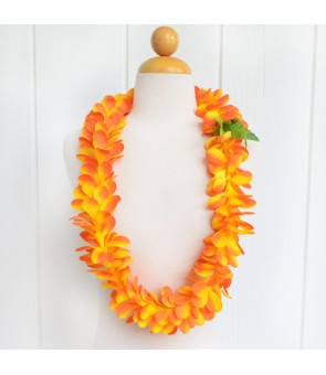 Silk Flower Lei [ Plumeria Royal Single ] Golden Orange