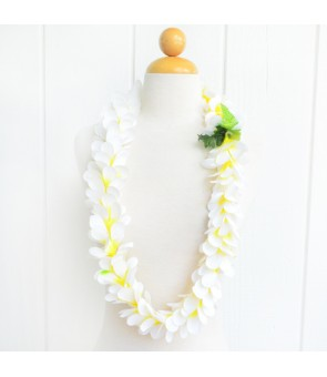 Silk Flower Lei [ Plumeria Royal Single ] White Yellow