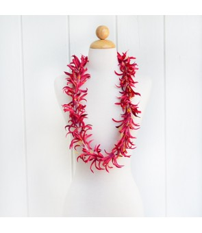 Silk Flower Lei [ Spider Lily ] Red