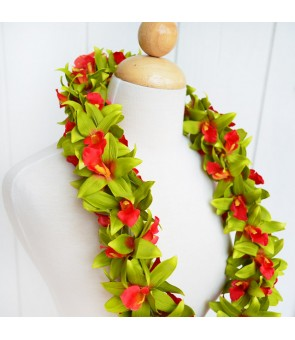 Silk Flower Lei [ Vanda Orchid / Double ] Red Green