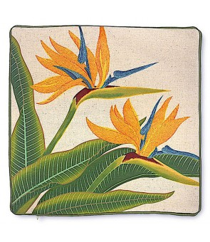 Embroidered Pillow Cover [ Bird of Paradise ]