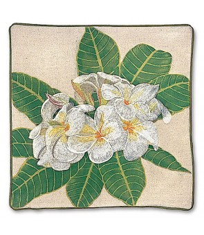 Embroidered Pillow Cover [ Plumeria ]