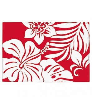 Reversible Fabric Placemat [ Hibiscus Floral ] Red