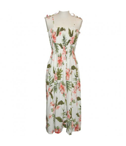 Hawaiian Cotton Tube Top Mid-Length Dress [ Fancy Hibiscus ] White Coral