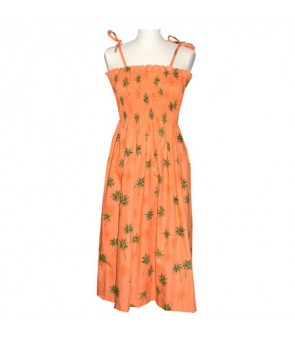 Hawaiian Cotton Tube Top Long Dress [ Palm Tree ] Orange
