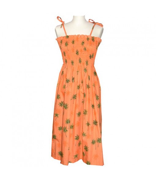Hawaiian Cotton Tube Top Mid-Length Dress [ Palm Tree ] Orange