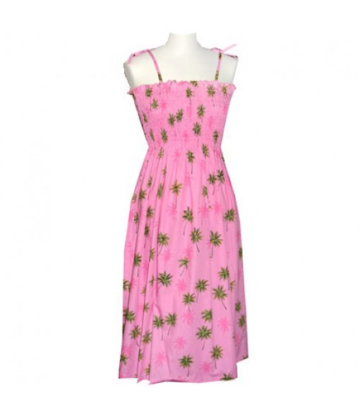 Hawaiian Cotton Tube Top Mid-Length Dress [ Palm Tree ] Pink