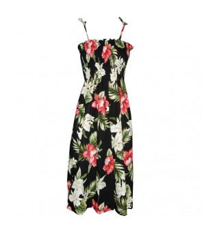Hawaiian Cotton Tube Top Mid-Length Dress [ Orchid Hibiscus ] Black