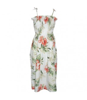 Hawaiian Cotton Tube Top Mid-Length Dress [ Orchid Hibiscus ] White