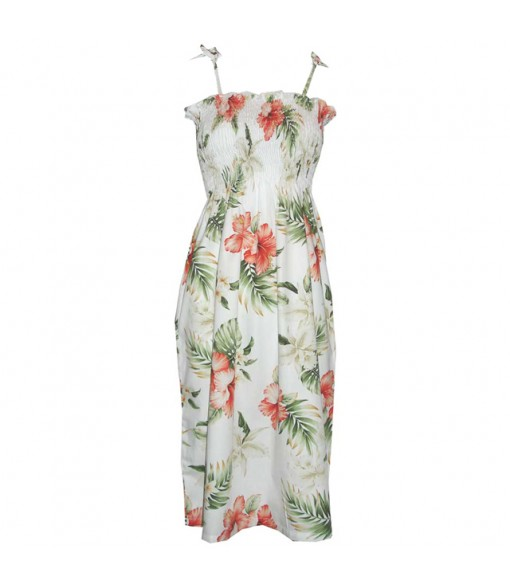 Hawaiian Cotton Tube Top Long Dress [ Orchid Hibiscus ] White