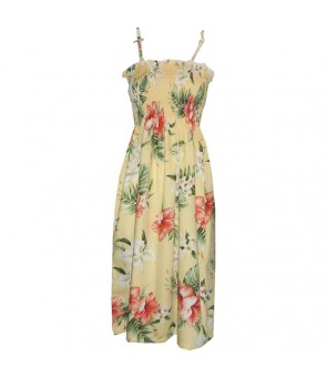 Hawaiian Cotton Tube Top Mid-Length Dress [ Orchid Hibiscus ] Yellow