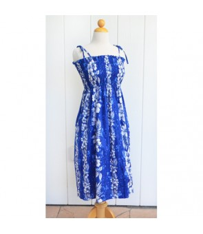 Hawaiian Cotton Tube Top Mid-Length Dress [ Trend Hibiscus ] Navy Blue