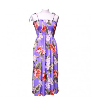 Hawaiian Rayon Tube Top Mid-Length Dress [ White Orchid Hibiscus ] Purple