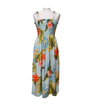 Hawaiian Rayon Tube Top Mid-Length Dress [ Hibiscus Leaf ] Green
