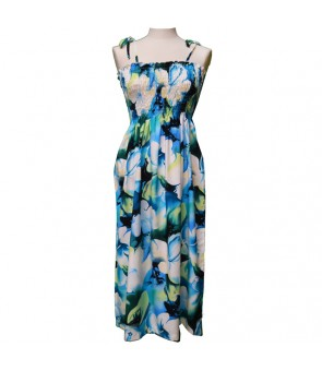 Hawaiian Rayon Tube Top Mid-Length Dress [ Plumeria ] Blue
