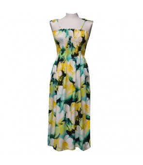 Hawaiian Rayon Tube Top Mid-Length Dress [ Plumeria ] Yellow