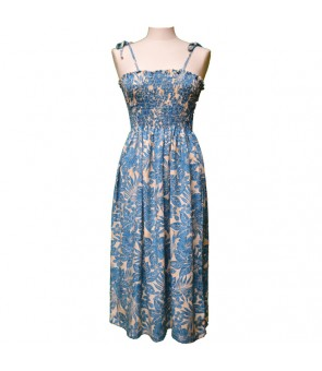 Hawaiian Rayon Tube Top Mid-Length Dress [ Future Garden ] Navy Blue
