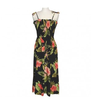 Hawaiian Rayon Tube Top Long Dress [ Maui Hibiscus ] Black