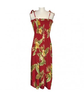 Hawaiian Rayon Tube Top Mid-Length Dress [ Maui Hibiscus ] Red