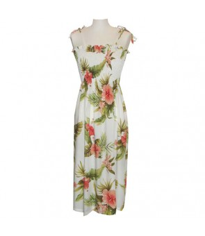 Hawaiian Rayon Tube Top Long Dress [ Maui Hibiscus ] White