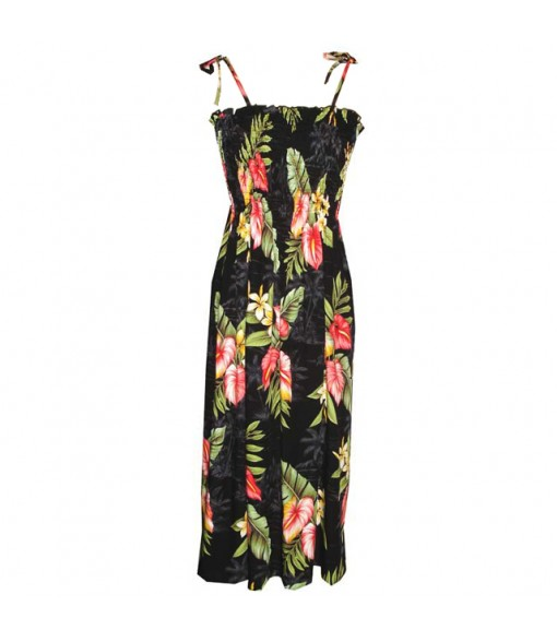 Hawaiian Rayon Tube Top Mid-Length Dress [ Maui Anthurium ] Black