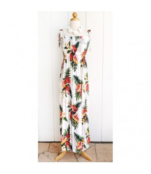 Hawaiian Rayon Tube Top Long Dress [ Maui Anthurium ] White