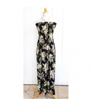 Hawaiian Rayon Tube Top Long Dress [ Orchid Fern Plumeria ] Black